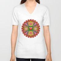 emoji V-neck T-shirts featuring Emoji Mandala by NOLAN DEMPSEY