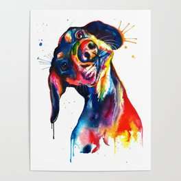 Puppy Splatter Dog Watercolor Paint Poster