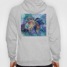Sea Turtle underwater, beach deep blue barine blue turtle beach style design Hoody