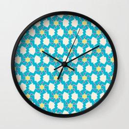 Digital Geometric Motif blue palette Wall Clock