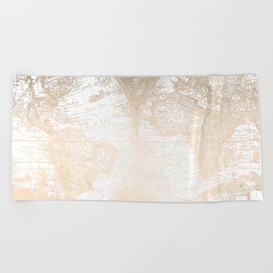 Antique White Gold World Map Beach Towel