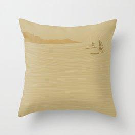 Diamond Head Surfers Throw Pillow