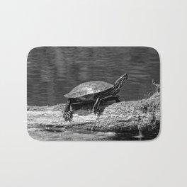 Painted Turtle on a Log (B&W) Bath Mat