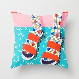 No Doi - memphis throwback retro classic style fashion 1980s 80s hipster shoes socks urban trendy Throw Pillow