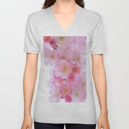 Botanical blush pink white cherry blossom floral Unisex V-Neck