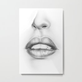 Lips Illustration | Pouty Lips | Woman | Lady | Girl | Sexy Metal Print