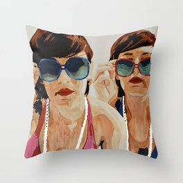 Woman in Vintage Sunglasses Throw Pillow