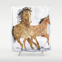 horses Shower Curtains featuring Horses by Stag Prints
