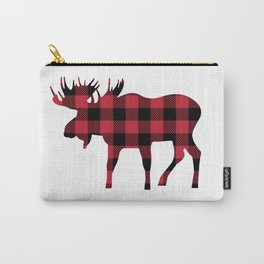 Moose Silhouette in Buffalo Plaid Carry-All Pouch