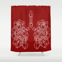 lungs Shower Curtains featuring lungs outline by khet13