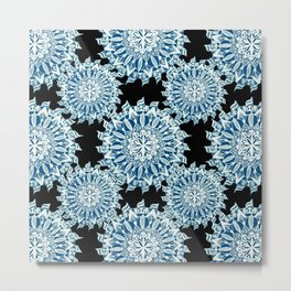 Grey-Blue and White on Black Patterned Mandalas Metal Print