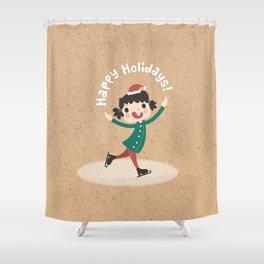 Holiday Ice Skating Shower Curtain