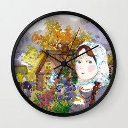 Rural Landscape. Genre Scene. Wall Clock