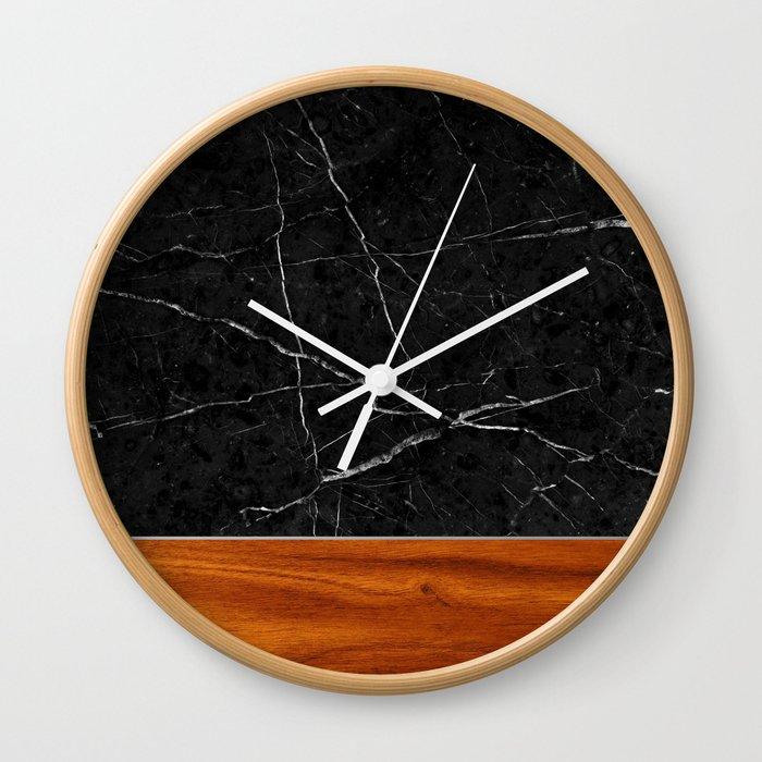 Marble And Wood Wall Clock By Calacatta Society6