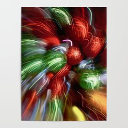 Abstract Red & Green Motion Blur Poster
