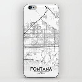 Minimal City Maps - Map Of Fontana, California, United States iPhone Skin