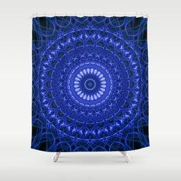 Dark blue mandala Shower Curtain