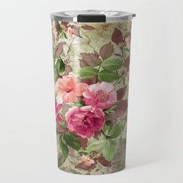 Roses on Vintage Background Travel Mug