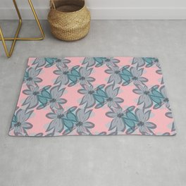 Double Flower Overlap Pattern Pink Blue Rug