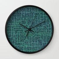 blueprint Wall Clocks featuring Apple Blueprint by Rutmer