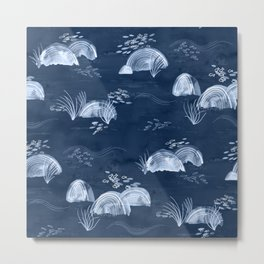 Fish and Stones on the Seabed - Monochrome Blue Metal Print