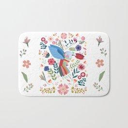 Folk Art Inspired Hummingbird In A Burst Of Springtime Blossoms Bath Mat