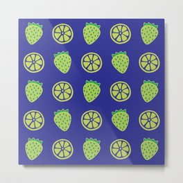 Tropical exotic grapefruit slices and sweet strawberries summer fruity green navy blue cute pattern design. Metal Print