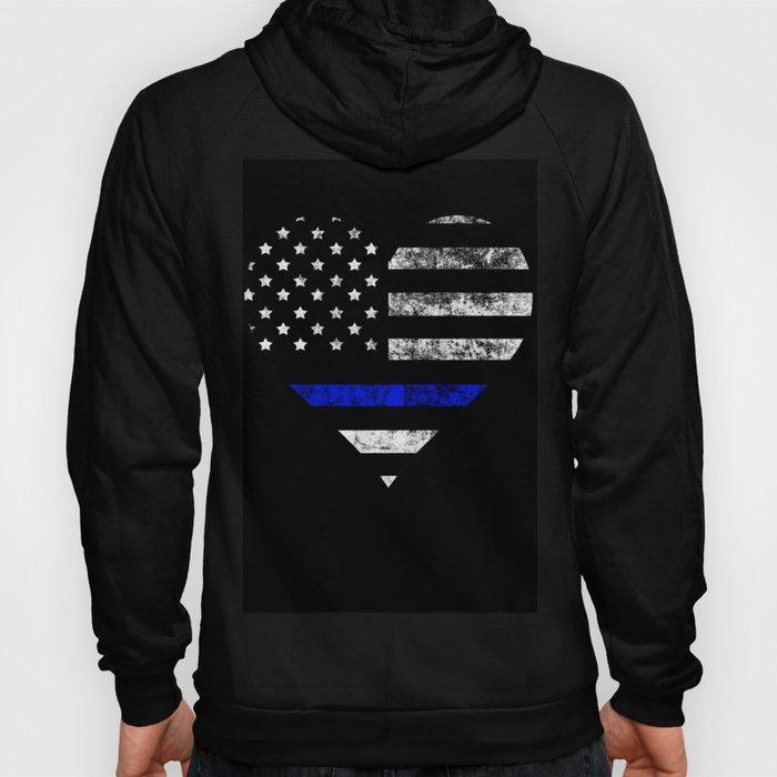 Thin Blue Line Police Officer LEO USA America Flag Heart Gift Cop Sherrif Blue Lives Matter Hoody