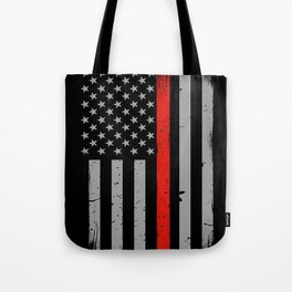 Red Line Firefighter American Flag Tote Bag