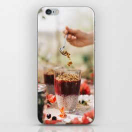 chia seeds pudding with aronia berry iPhone Skin