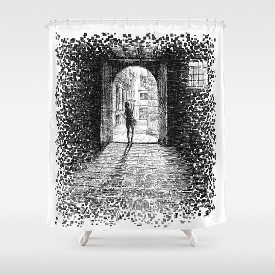 Light - Black ink Shower Curtain