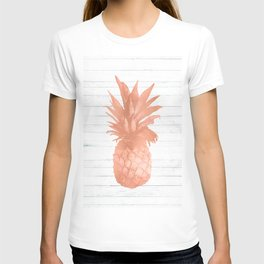 Rose Gold Pineapple on Wood Nautical Decor T-shirt
