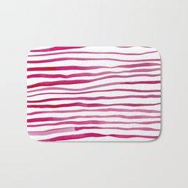 Irregular watercolor lines - pink Bath Mat