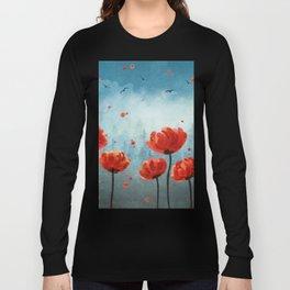 Poppy flowers - Misty Forest Long Sleeve T-shirt