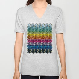 Escher FIsh Rainbow Pattern Unisex V-Neck