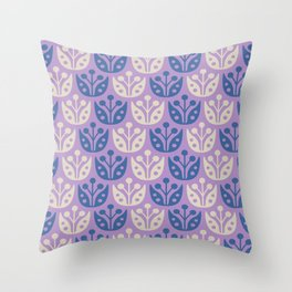 Mid Century Modern Flower Pattern Lavender and Blue 112 Throw Pillow