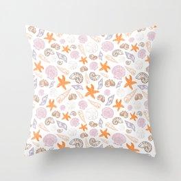 Seashell Print Throw Pillow