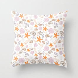 Seashell Print Throw Pillow