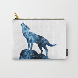 Howling Wolf blue sparkly smoke silhouette Carry-All Pouch