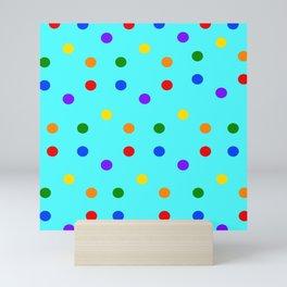 Playful Dots on mint colored background Mini Art Print
