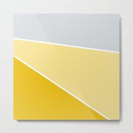 Diagonal Color Block in Yellows and Gray Metal Print