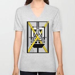 Yellow X - Geometric Abstract Design Unisex V-Neck