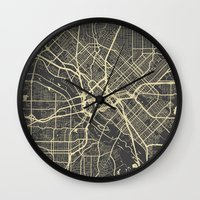 dallas Wall Clocks featuring Dallas map by Map Map Maps