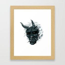 oni mask, japanese ogre color case Framed Art Print
