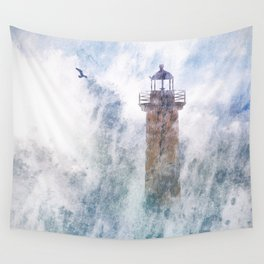 Storm in the lighthouse Wall Tapestry