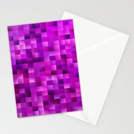 Purple rectangle pattern Stationery Cards