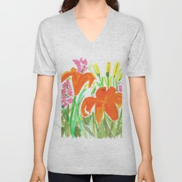Orange Summer Lilies and Pink Flowers / Wildflowers / Summer Fields of Flowers Unisex V-Neck