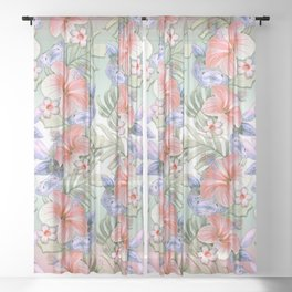 Hibiscus Aloha Stripe Sheer Curtain