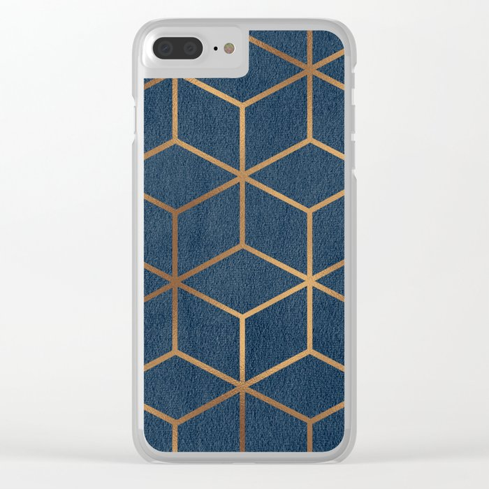 Dark Blue and Gold - Geometric Textured Cube Design Clear iPhone Case