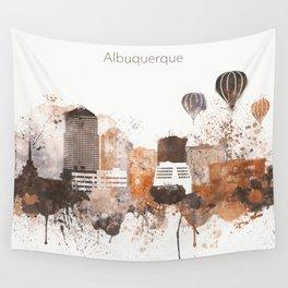 Brown Albuquerque skyline design Wall Tapestry